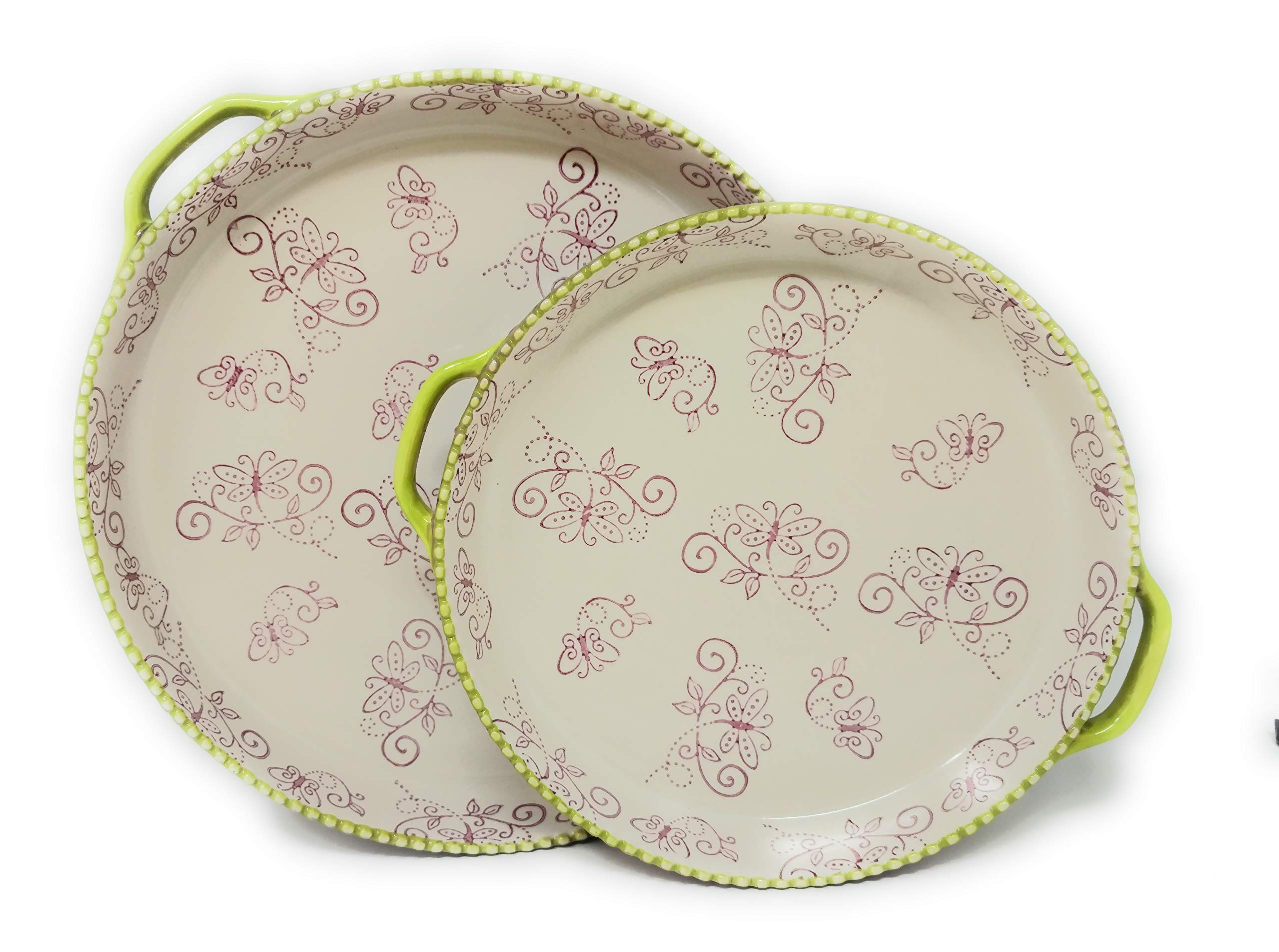 Temp-tations 11'' & 9'' Shallow Baker Pie Pan/Deep Dish Pizza, Set of 2 (Floral Lace Spring)