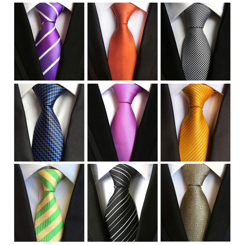 Jeatonge Lot 6pcs Mens Ties and 3pcs Tie Clips, Men's Classic Tie Necktie Woven Jacquard Neck Ties (9-13)