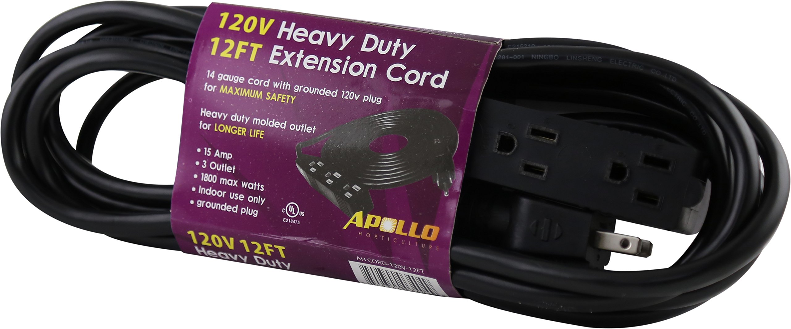 Apollo Horticulture 14 Gauge 120V Heavy Duty 12ft Extension Cord with 3 Outlet Power Strip