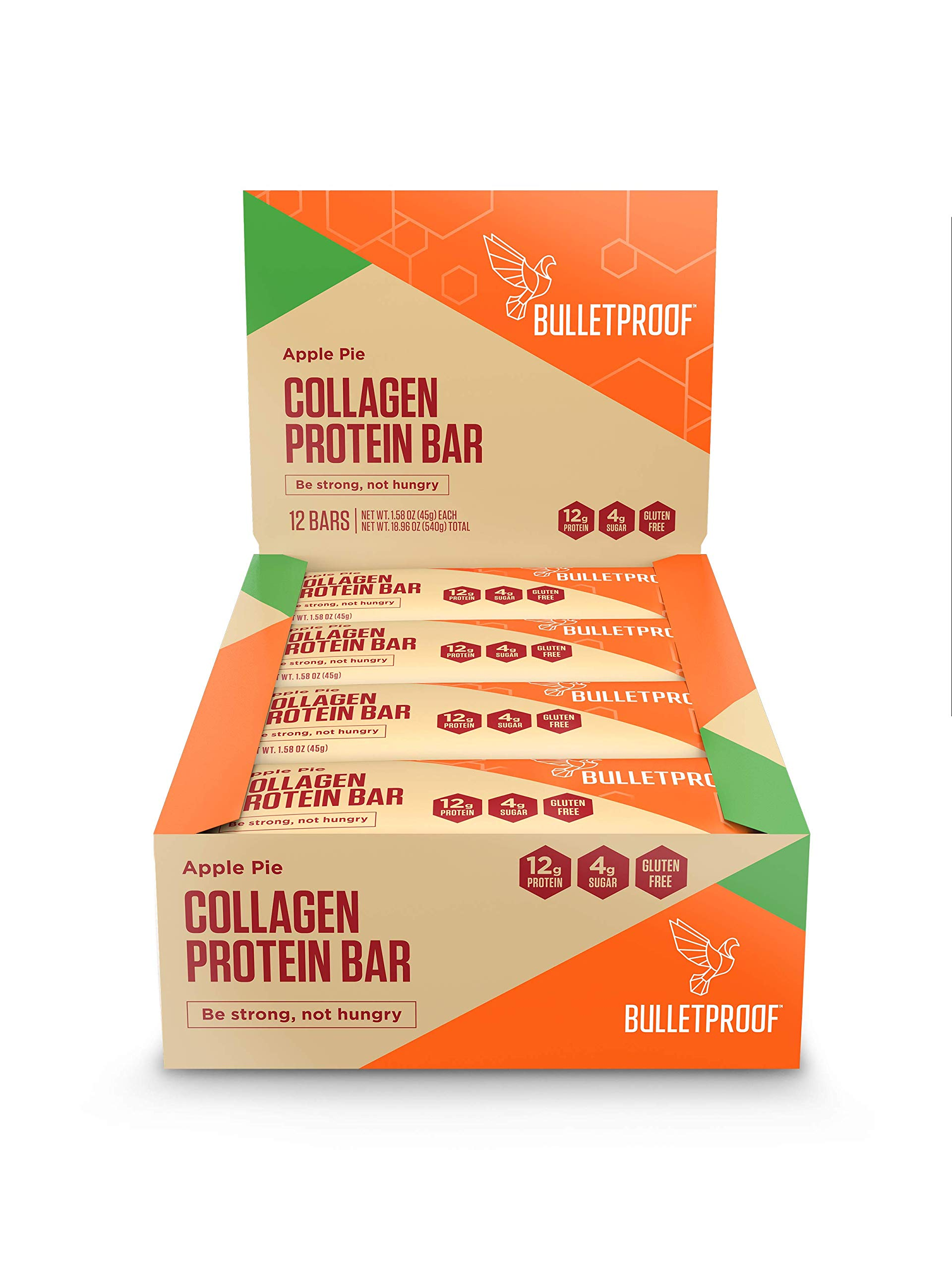 Bulletproof Collagen Protein Bars, Keto Friendly, Travel Friendly, Snack Strong not Hungry (Apple Pie)