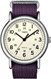Timex Women's Quartz Watch with Yellow Dial Analogue Display and Purple Nylon Strap T2N648PF