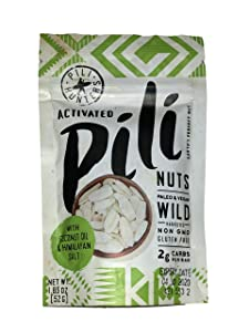 Pili Hunters Pili Nuts, AS SEEN ON SHARK TANK, Himalayan Salt and Coconut MCT Oil, The Original Wild Sprouted Pili Nut, Perfect Keto Friendly Snack, Vegan, Paleo and Keto Certified, One 1.85 Ounce Bag