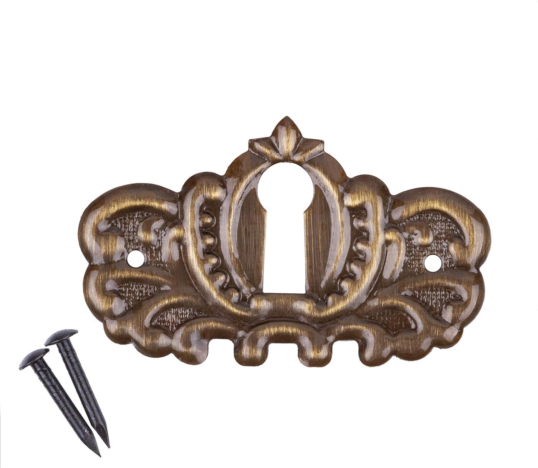 Ornate Stamped Brass Decorative Keyhole Cover | 1-7/8