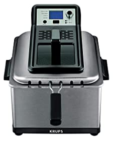 KRUPS KJ502D51 Deep Fryer, Electric Deep Fryer, Stainless Steel Triple Basket Fryer, 4.5 Liter, Silver (Renewed)