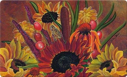 Toland Home Garden Cattail Bouquet 18 x 30 Inch Decorative Floor Mat Fall Autumn Seasonal Flower Doormat