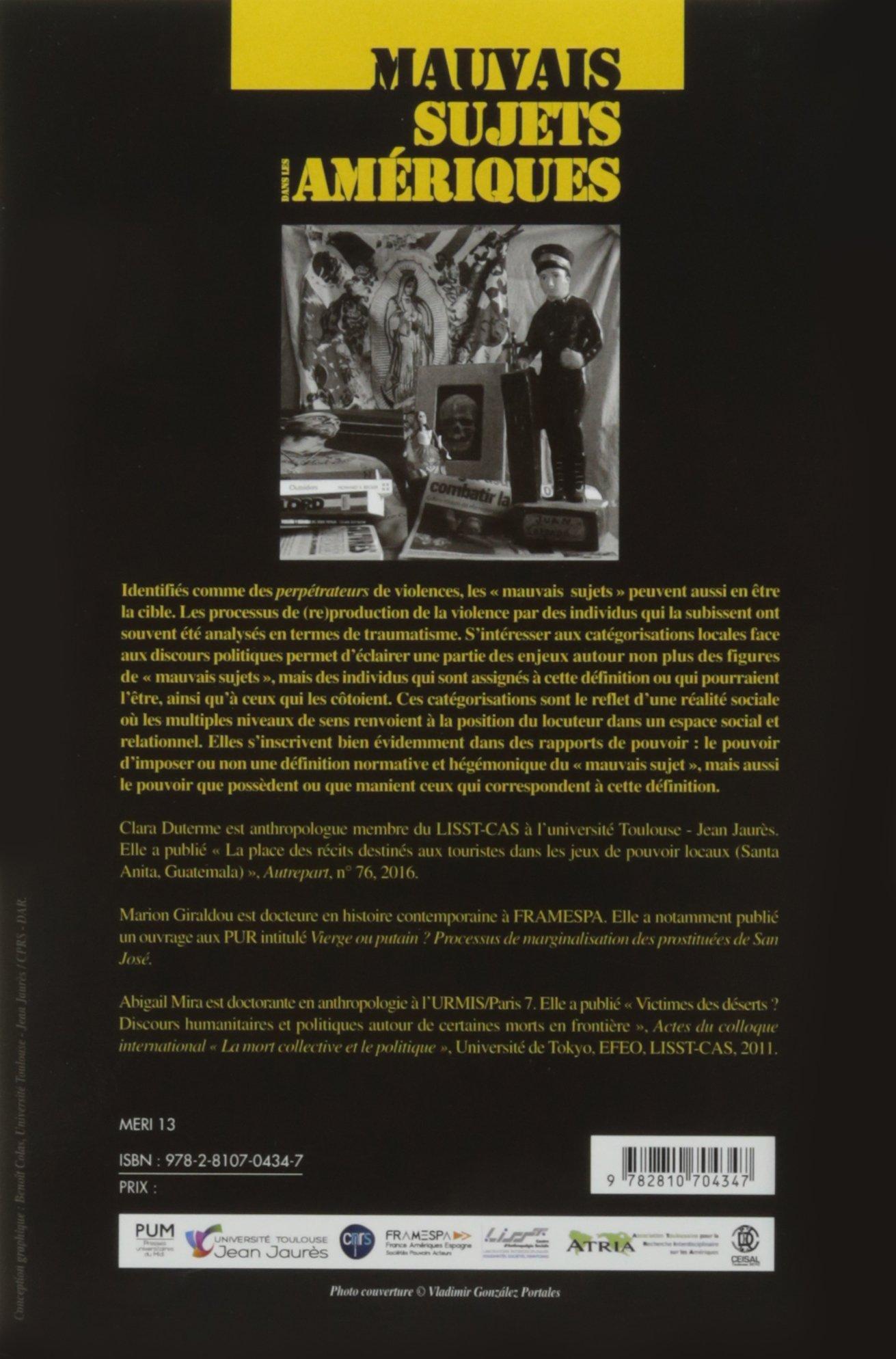 Mauvais sujets dans les ameriques (Méridiennes): Amazon.es: Collectif, Abigail Mira, Clara Duterme, Marion Giraldou, Richard Marin: Libros en idiomas ...