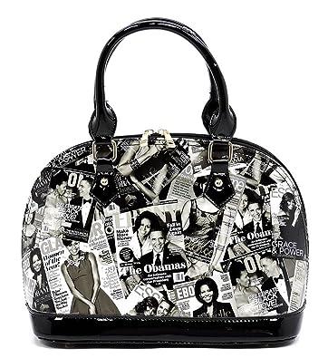 3c8edcbc03bd Glossy Magazine Cover Collage Dome Satchel Handbag Michelle Obama Purse