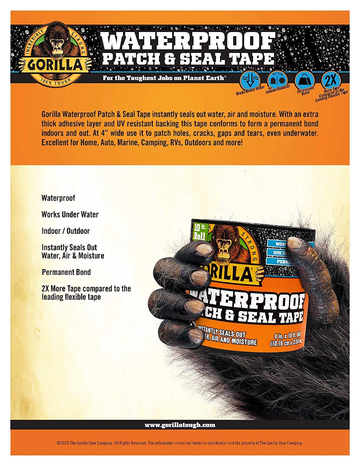 Gorilla 4612502 Waterproof Patch & Seal Tape 4'' x 10' Black, Pack 4 by Gorilla (Image #3)