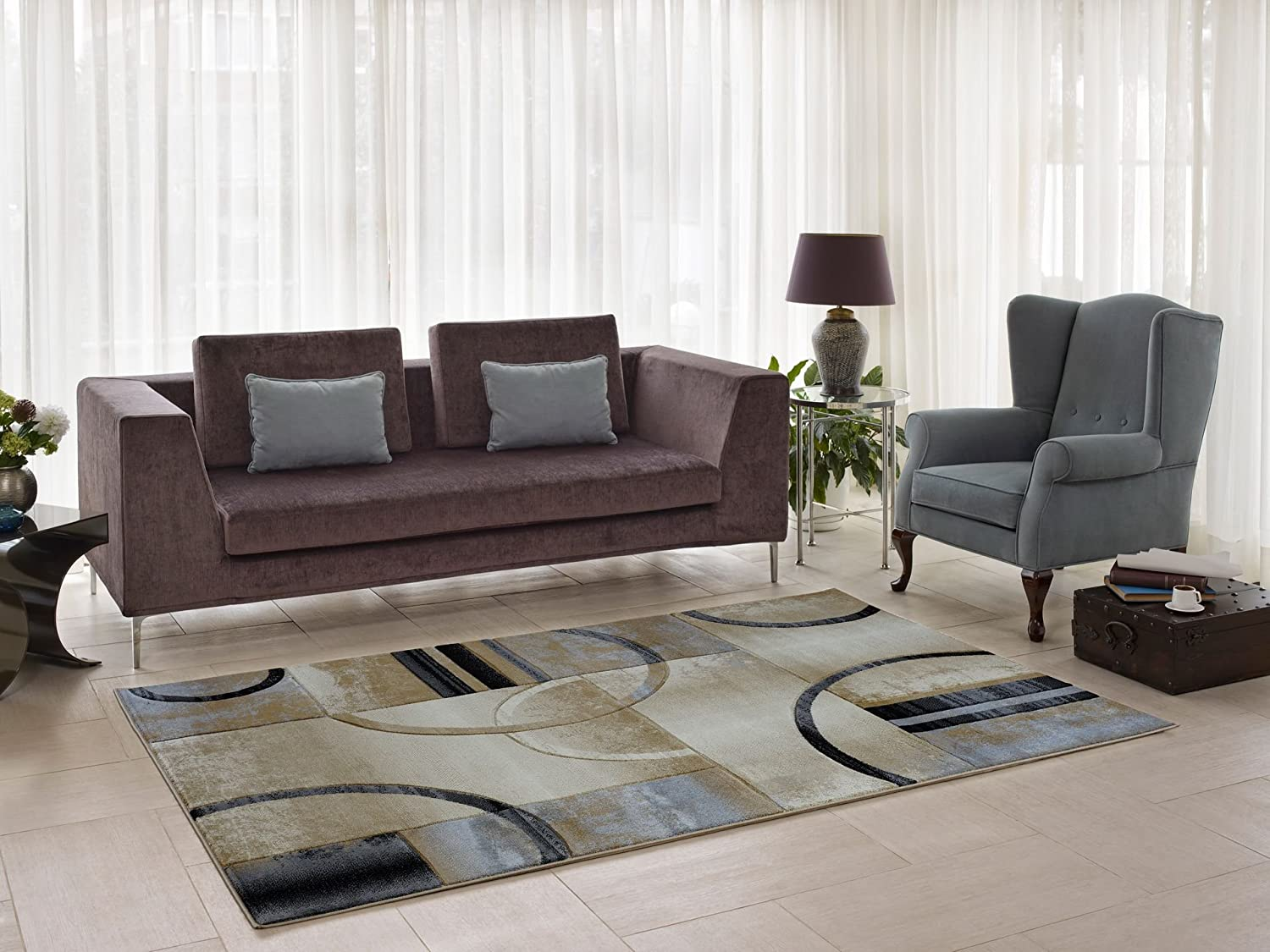 Ladole Adonis Beige Grey Area Rug Living Room, Dining Area Bedroom Hallway (2'7 x 4'11) Ladole Rugs ANS1093