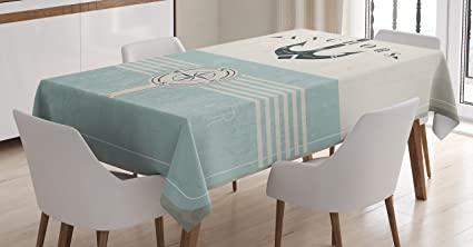 Ambesonne Nautical Tablecloth By, Aged Ocean Lover Phrase With Anchor  Figure And Compass Marine Adventure