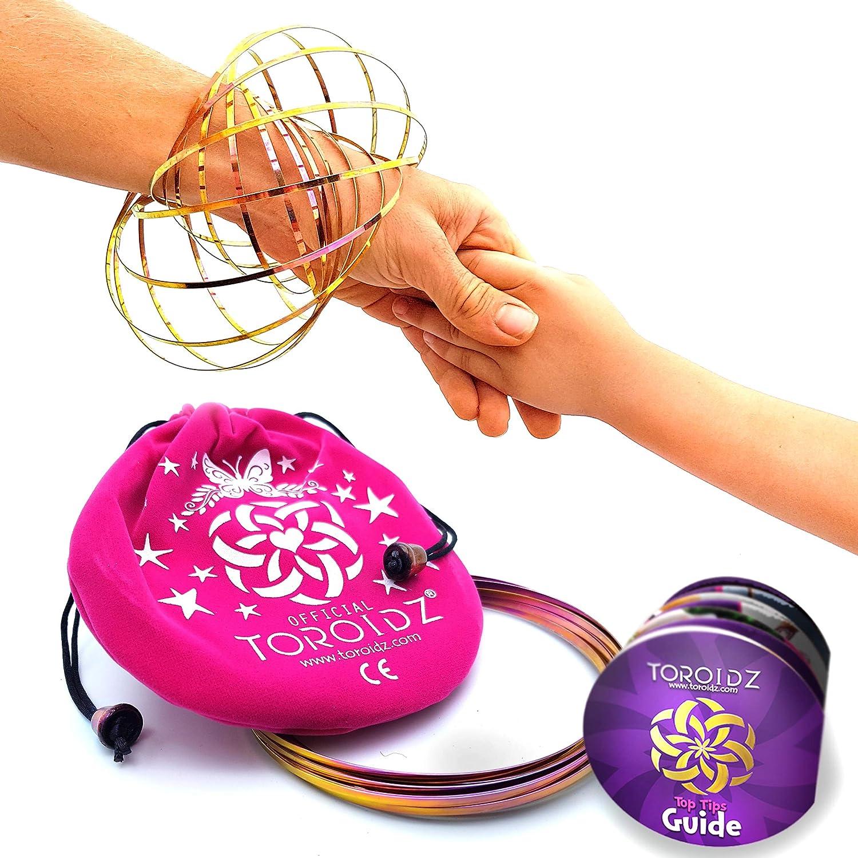 Toroidz ® Flow Ring (Plata) con Bolsa de Viaje, Siente el increíble Juguete de Flujo Mágico. - 3D Arm Slinky para el Brazo - Ciencia, Circo - Regalo Interactivo para Todas Las Edades