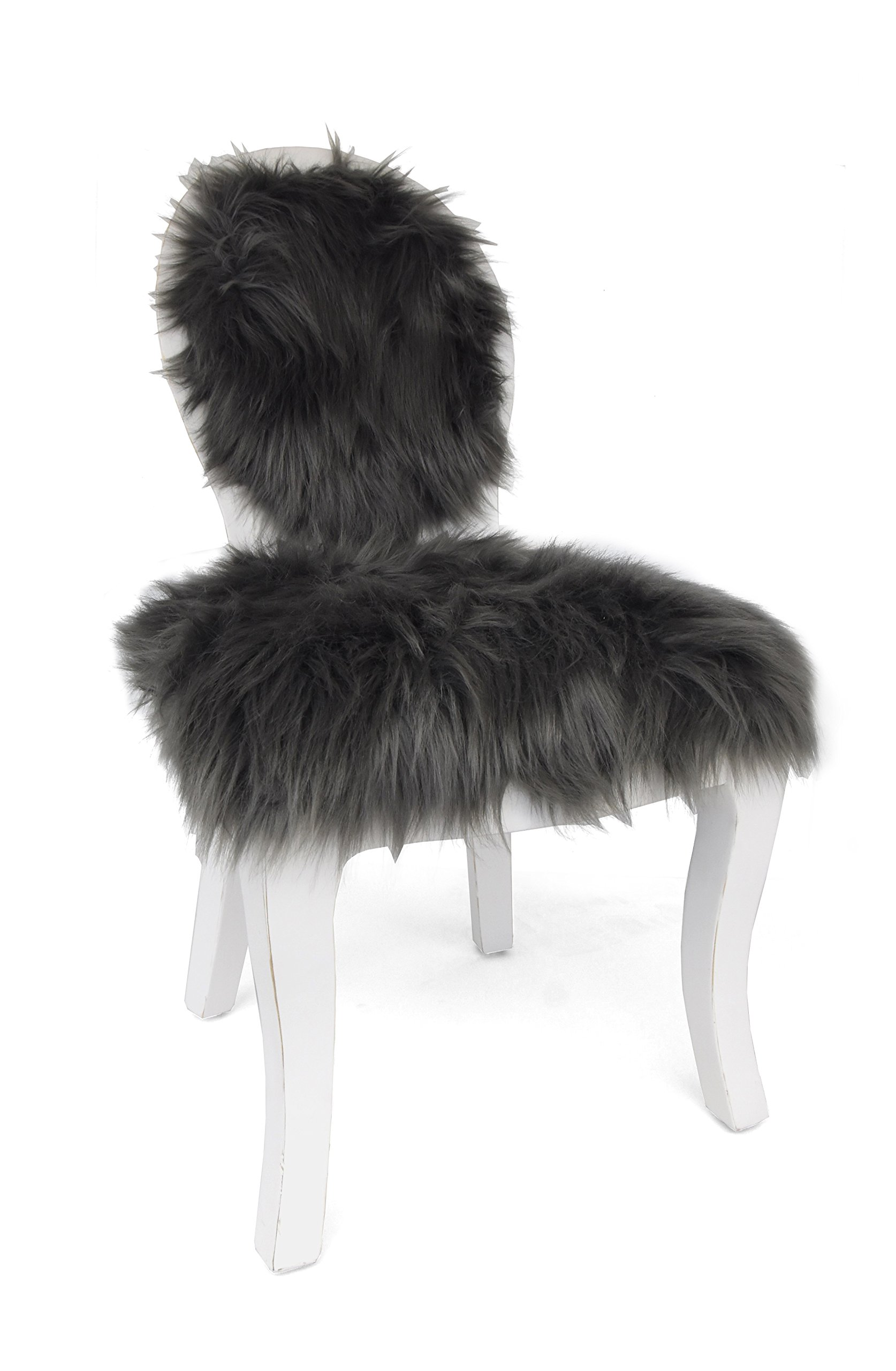 Heritage Kids Mongolian Fur Kids Chair, Grey