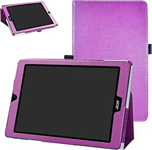 Acer Chromebook Tab 10 Case,Bige PU Leather Folio 2-Folding Stand Cover for Acer Chromebook Tab 10 Tablet,Purple