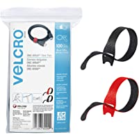 """VELCRO Brand Cable Ties, 100Pk - 8 x 1/2"""" Red and Black, Reusable Alternative to Zip Ties, ONE-WRAP Thin Pre-Cut Cord…"""