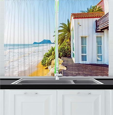 amazon com ambesonne ocean kitchen curtains coastal charm themed rh amazon com
