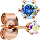 Body Candy Rose Gold IP Aurora Accent Post Stud Earrings