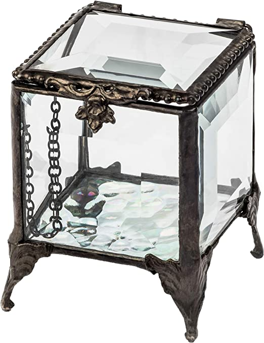 Stained Glass Appearance Jewelry Trinket Gift Light Box Hand Painted Glass Box Islamic Geometric Art