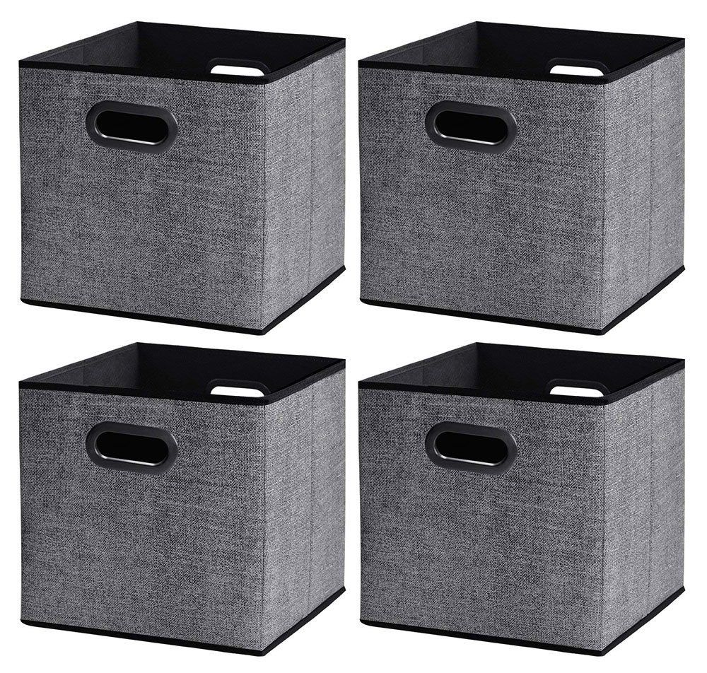 Homyfort Cloth Storage Bins, Foldable Cubes Basket Organizer Container Drawers with Dual Plastic Handles for Closet, Bedroom, Toys,Set of 4Black with Pattern (13x13x13in)