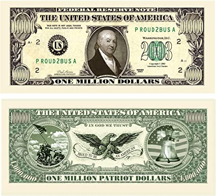 FREE SHIPPING Million Dollar Bill Play Money Looks Real Trick Your Friends