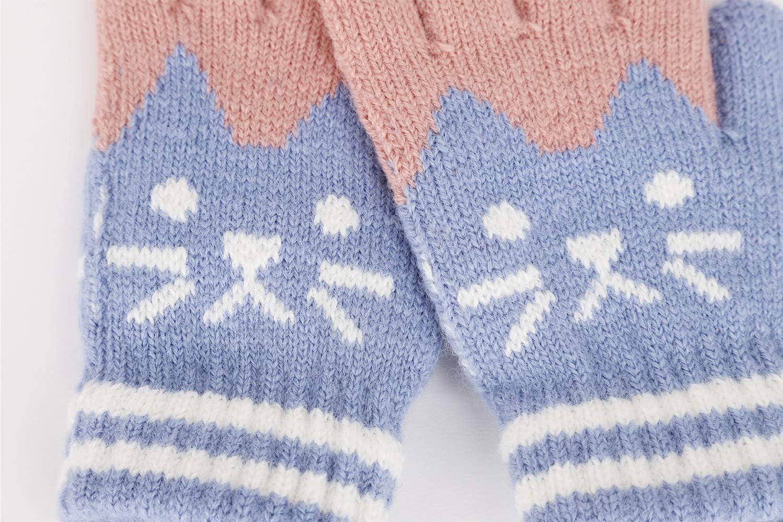 Bear Blue Woolen Winter Snow Ski Gloves Animal Cat Bear Full Finger Knit Mitten Gloves For Kids Christmas Gifts