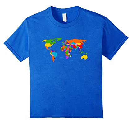 740df348d21df0 Kids World Map T-Shirt. Boys   Girls Map of the World Tee 12 Royal Blue   Amazon.co.uk  Clothing