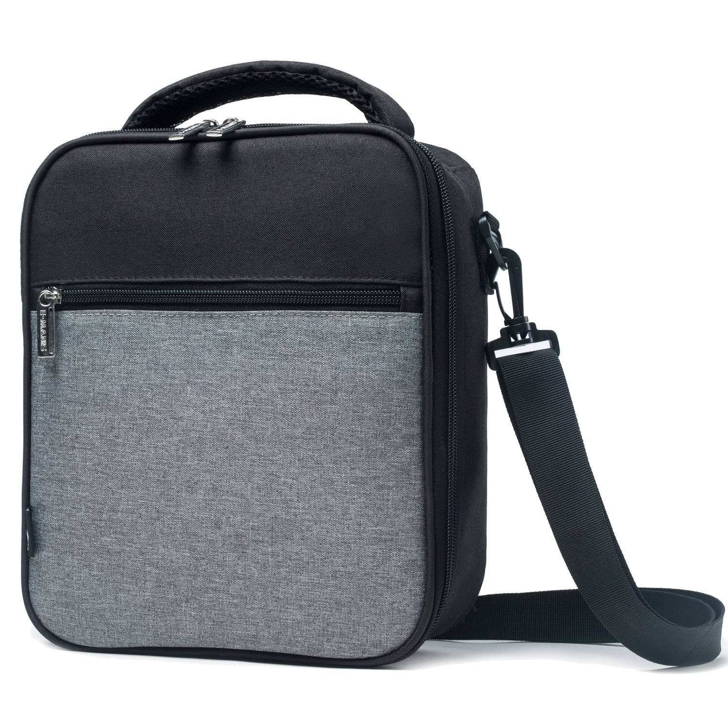 E-manis Insulated Lunch Bag Lunch Box Cooler Bag with Shoulder Strap for Men Women Kids (black+gray)