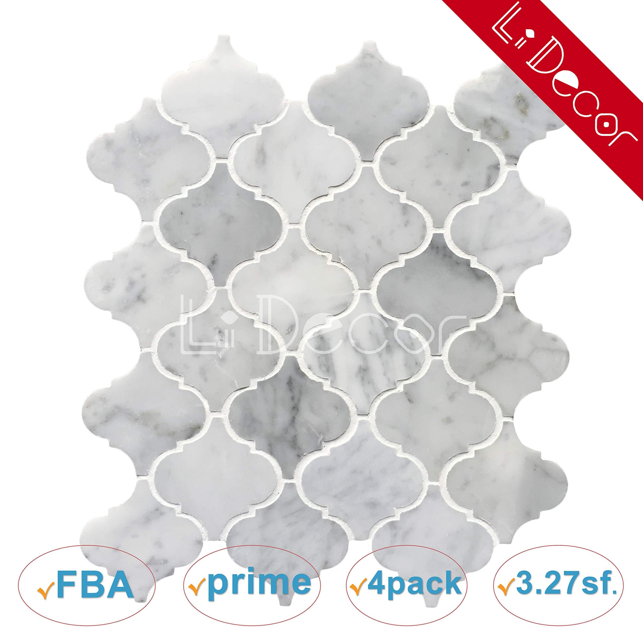 Italian Carrara White Arabesque Lantern Polished Carrera Marble Mosaic Tiles for Kitchen Bathroom Shower Counter Wall Floor Backspalsh Tiles by Li Decor