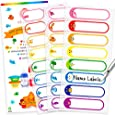 Baby Bottle Labels for Daycare Waterproof Write-On Name Labels Assorted Sizes & Colors Pack of 64 Plus 2 Bonus Gifts (Rainbow)