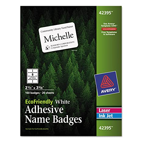 avery ecofriendly name badge labels for laser and ink jet printers 233 x 3375 inches