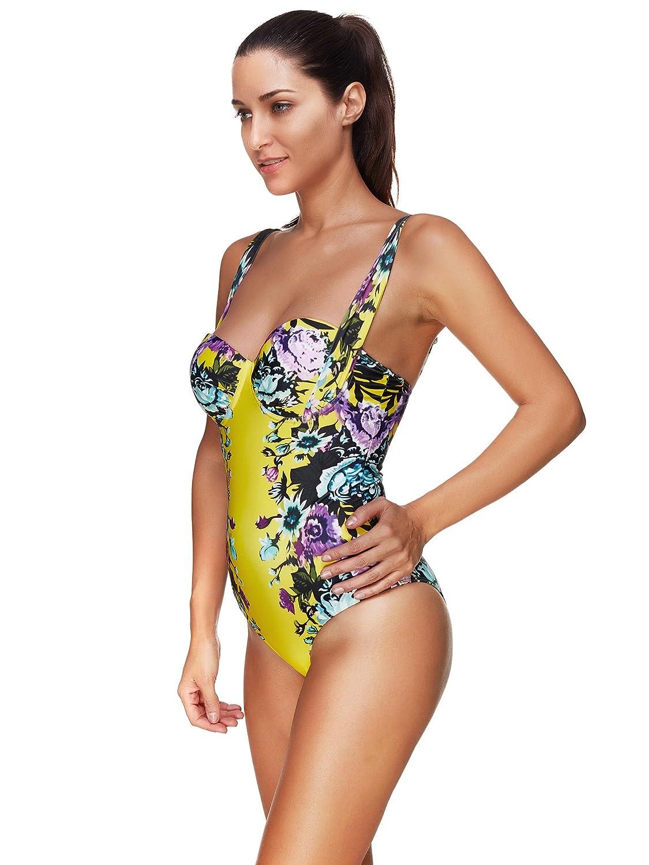 Amazon.com  XFentech Retro Swimming Costume Bikini Swimwear One Piece  Womens Ladies  Clothing 992275f86