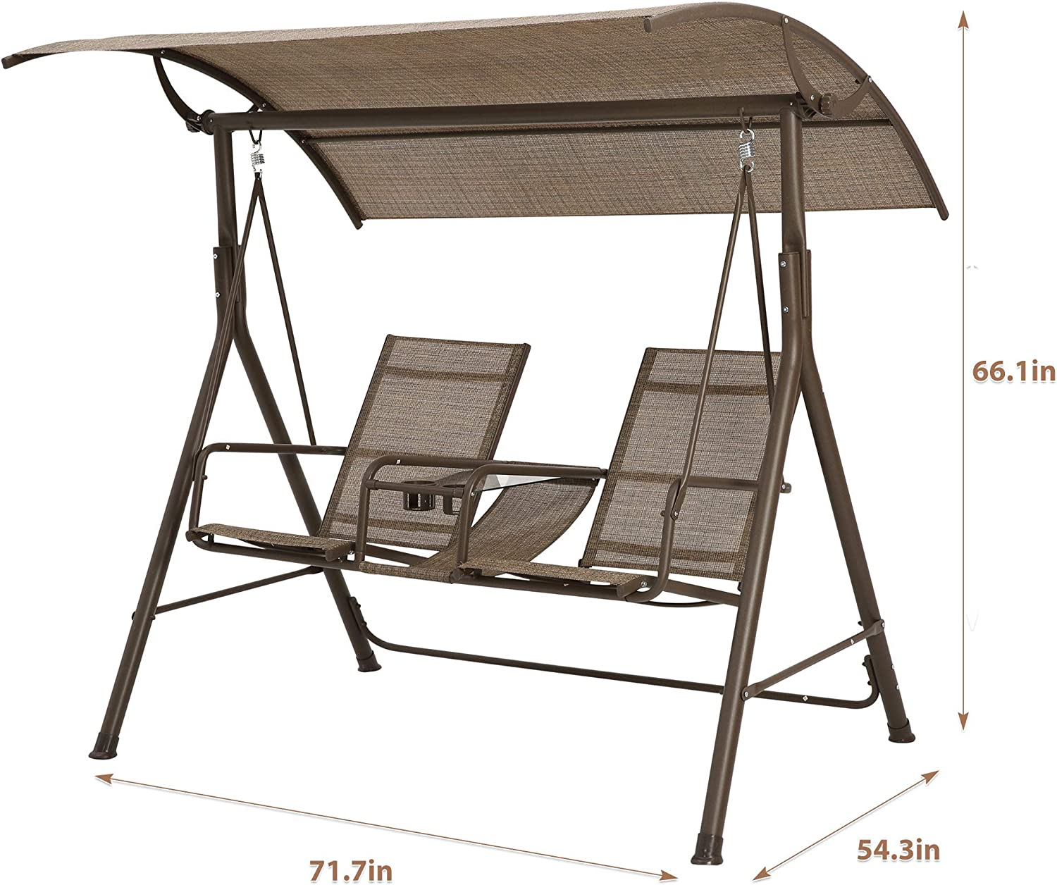 Brown Brown iDFURLF 2-Person Outdoor Large Convertible Canopy Hanging Swing Glider Lounge Chair w//Adjustable Shade /& 2 Coffee Cup Holders