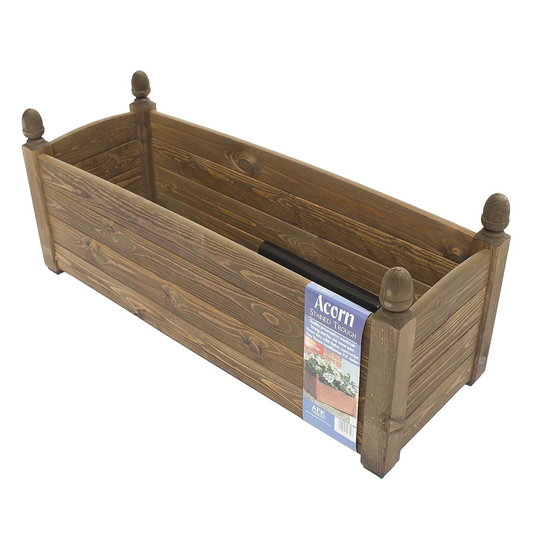 AFK 34\'\' Solid Acorn Trough Chestnut Stain Wooden Garden Planter ...
