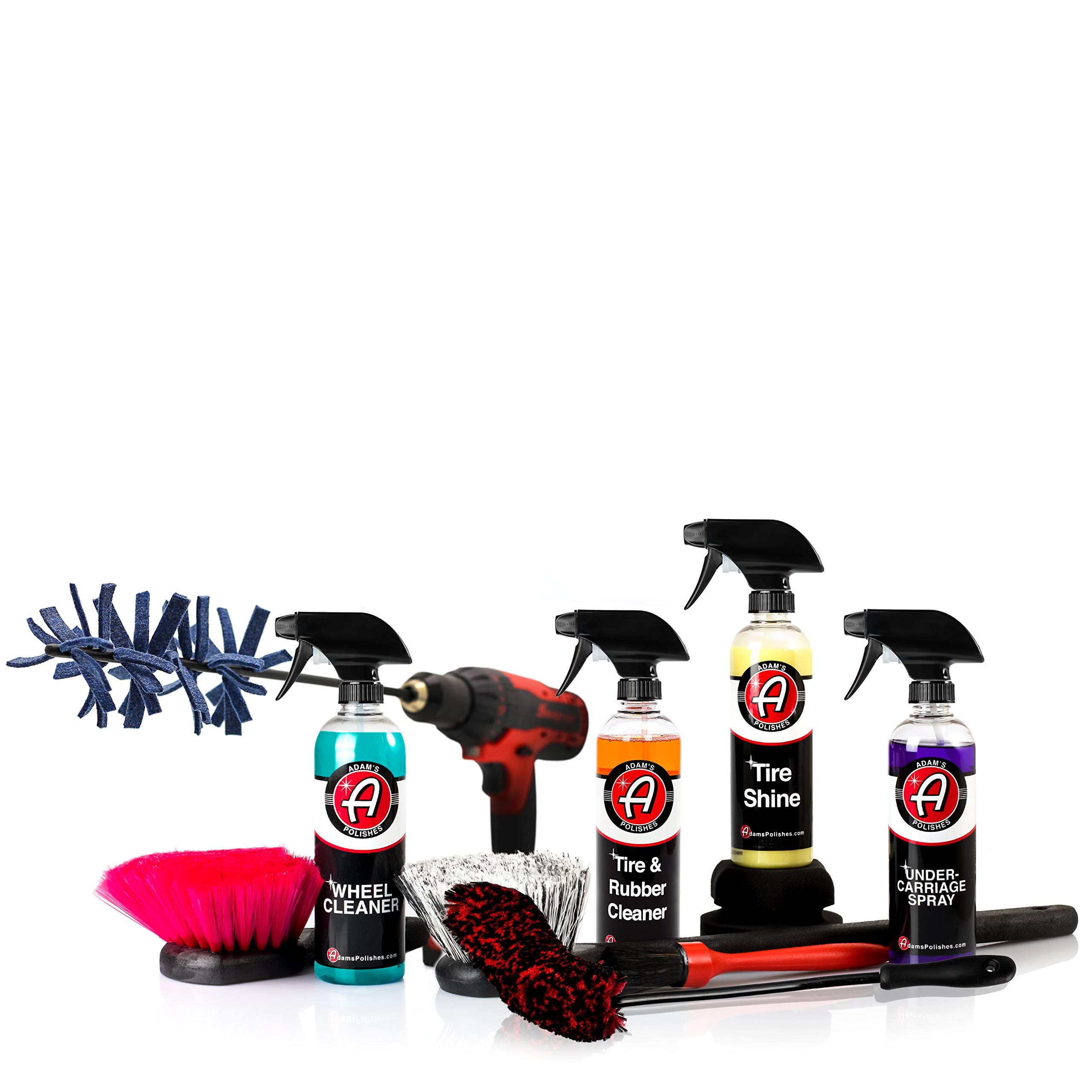 Adam's Complete Wheel & Tire Car Kit to Professionally Detail Your Wheels & Tires - Wheel & Tire Cleaner with All Brushes Needed (Ultimate Wheel & Tire Kit)