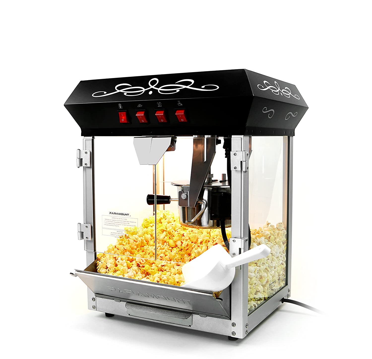 Paramount 6oz Popcorn Maker Machine – New Upgraded Feature-Rich 6 oz Hot Oil Popper Color Black