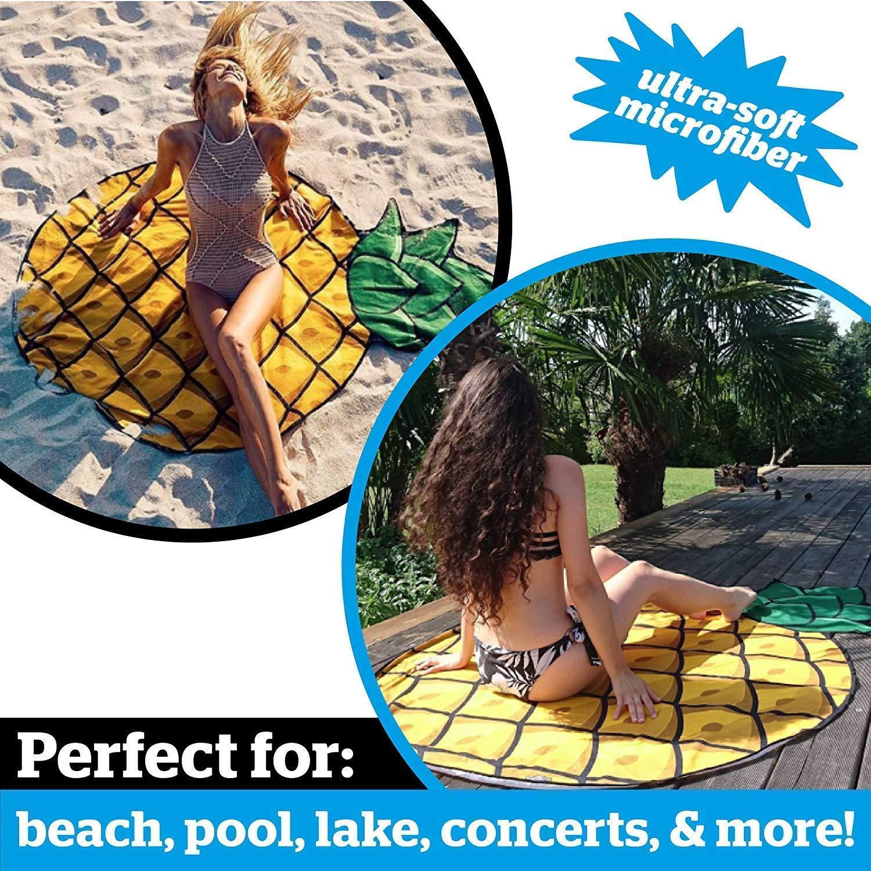5 Feet Wide Washing Machine Friendly Round Microfiber Beach Towel 3pcs//Set Ulta-Soft Microfiber Funny Oversized Beach Blanket Giant Pizza Hamburger Pineapple Beach Blanket