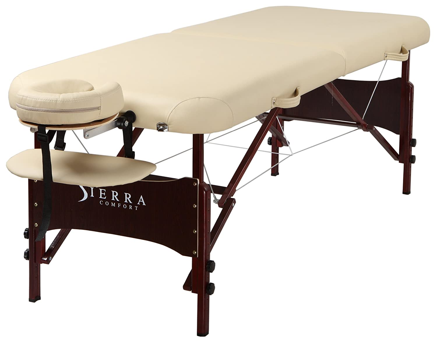 SierraComfort Preferred Portable Massage Table with Mahogany Finish, Cream