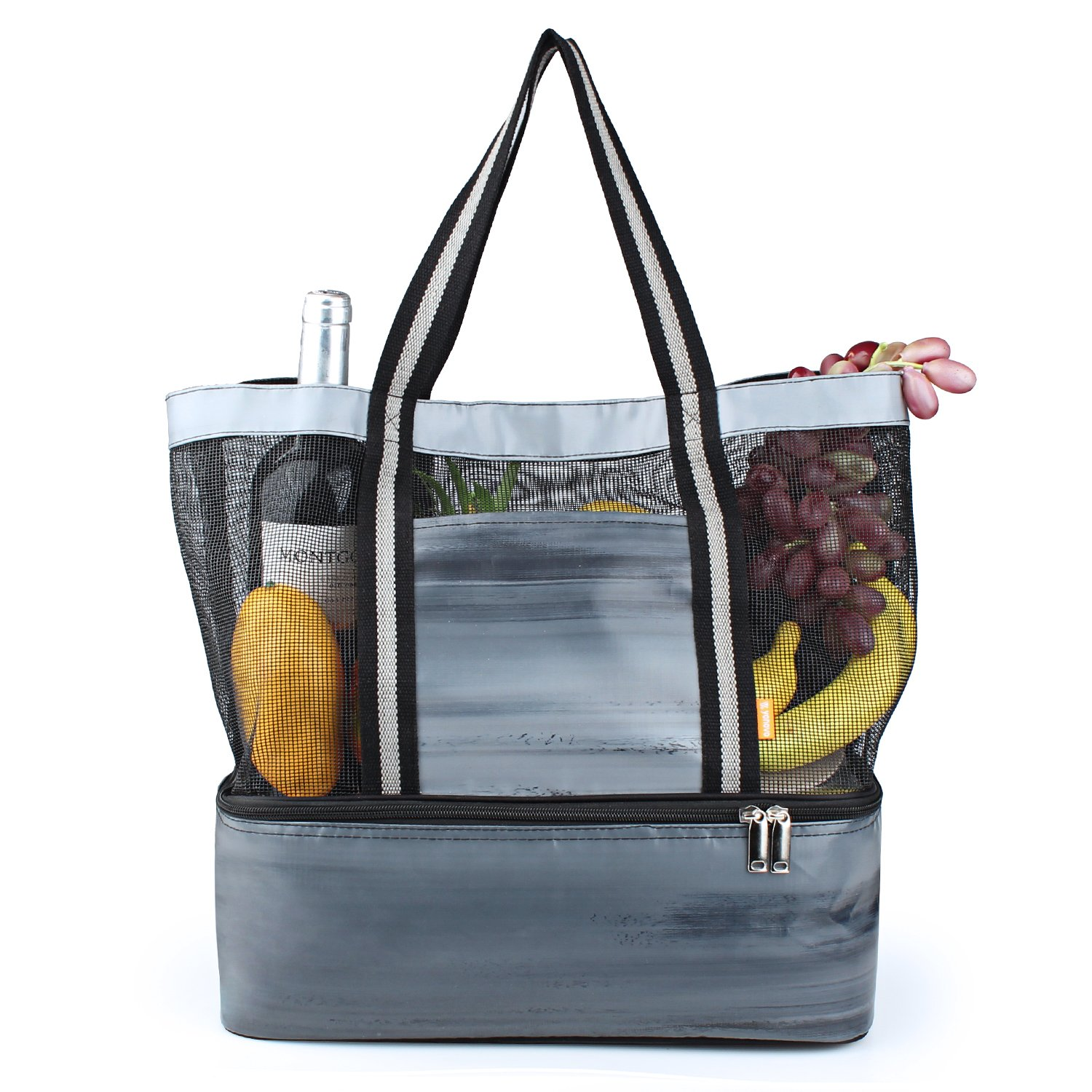 YONOVOBeachMeshBagLightweight Cooler Totewith InsulatedFood Grade Compartment forPicnic Camping Traveling (Grey)