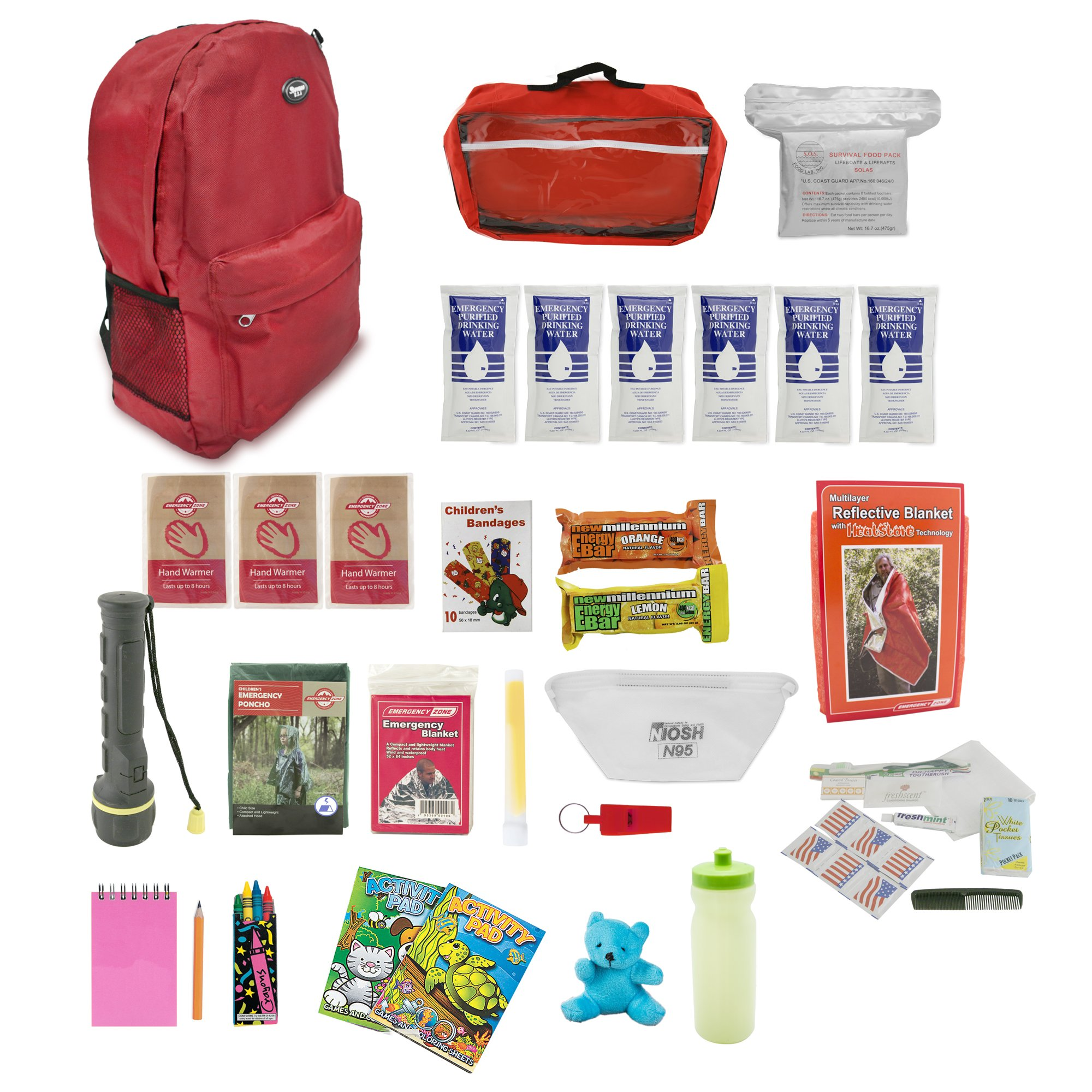 Bundle & Save | Emergency Zone 4 Person Family Prep 72 Hour Survival Kit + Deluxe Child Emergency Go Bag | Perfect Way to Prepare Your Family | Be Ready for Disasters like Hurricanes & Earthquakes by Emergency Zone (Image #6)