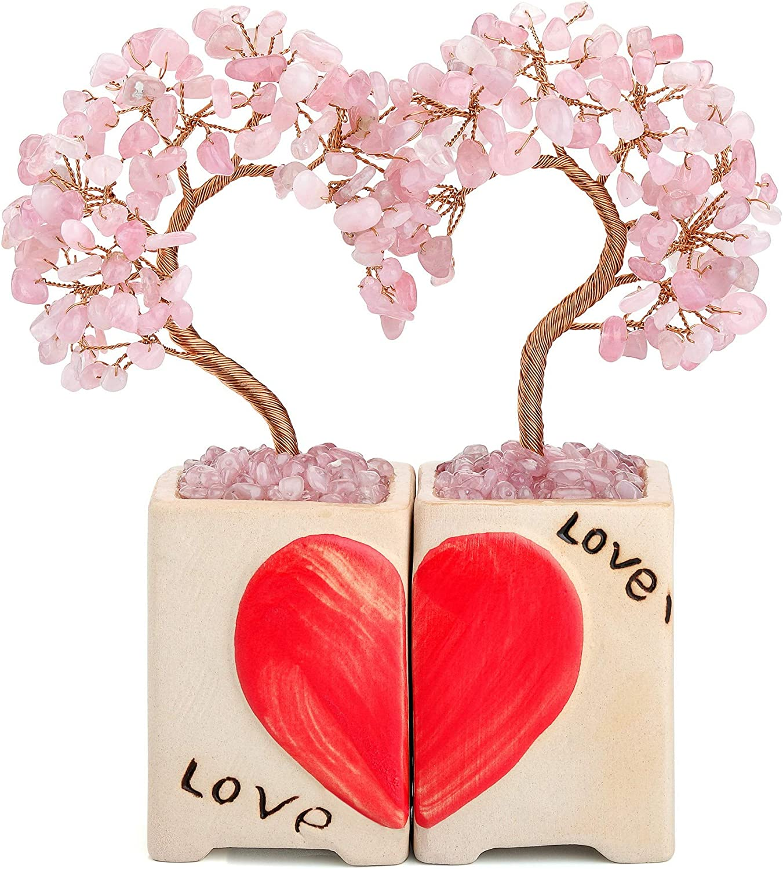 CrystalTears Rose Quartz Crystal Stone Tree Heart Healing Crystal Gemstone Money Tree Love Wedding Figurine Statue Gift for Couple Home Decoration