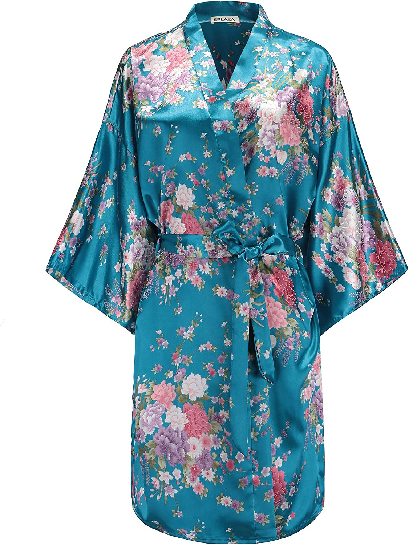 Women Long Satin Robe Dressing Gown Bridal Wedding Bride Bridesmaid Sleepwear JM