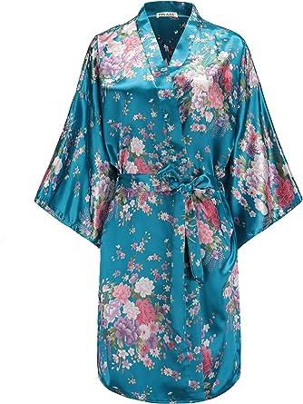 Floral Print Dressing Gown Bath Robe Wrap Around Gift  S,M,L,XL