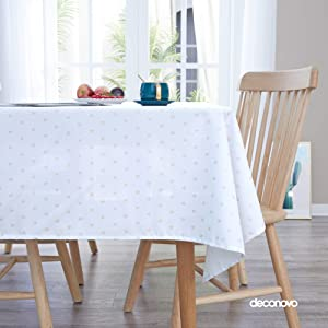 Deconovo Printed Stars Pattern Tablecloth Decorative Wrinkle Resistant Oxford Table Cloth for Room 54x84 Inch White