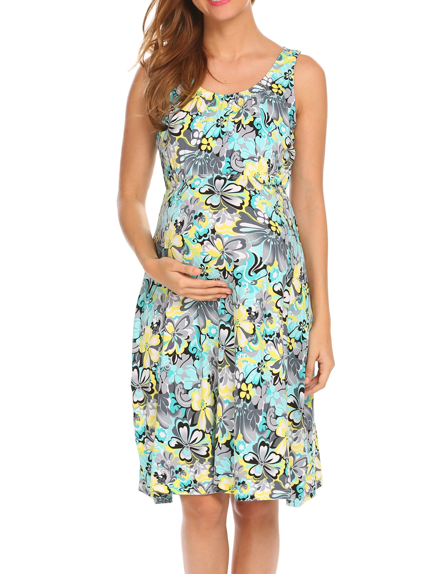 Hotouch Women 's Sleeveless Maternity Casual Maxi Dress for Party and Baby Shower Green Yellow L