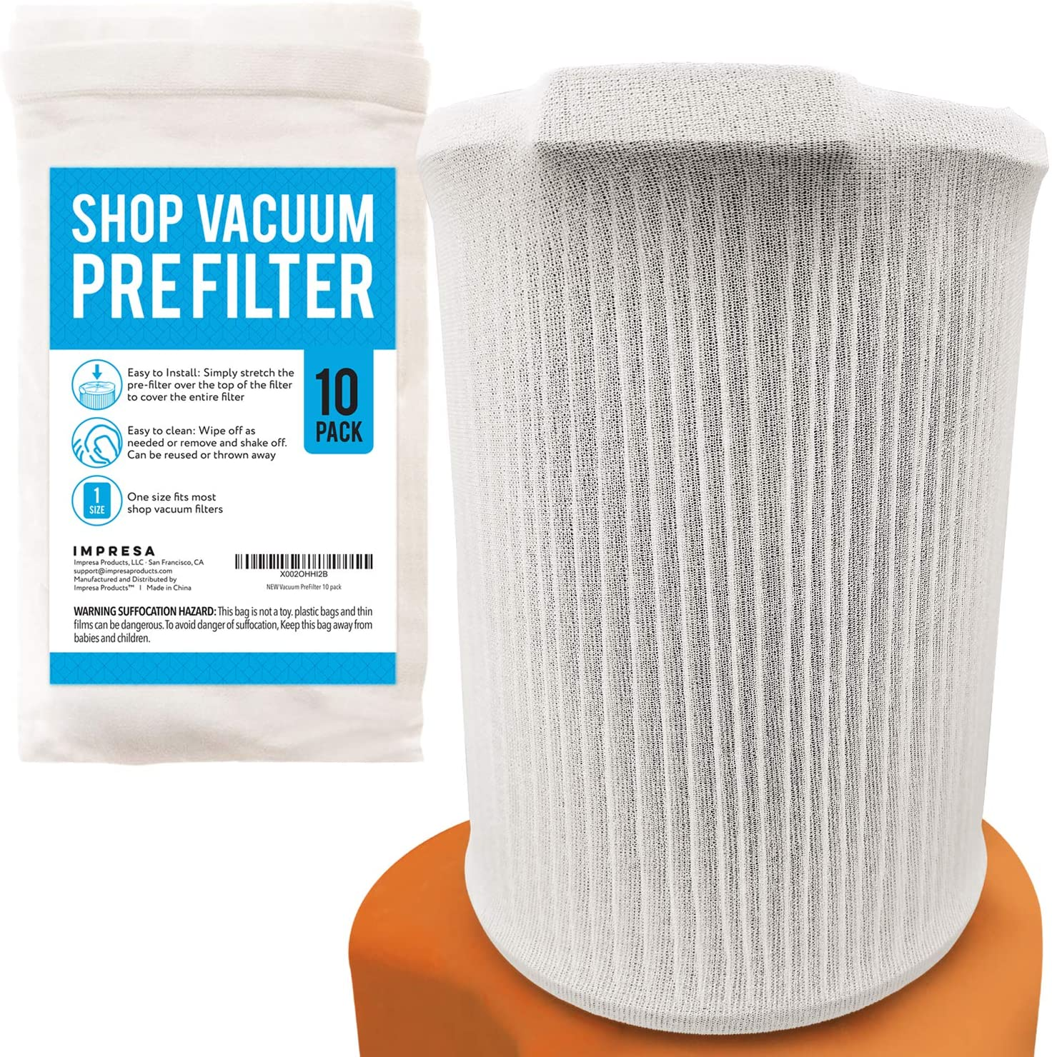 [10 Pack] Shop Vacuum Filter Cover To Reduce Dust Build Up - Reusable, Washable Vacuum Bags - Shopvac Prefilter, Fits Most Canister Vacuums