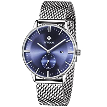 WWOOR Para los Hombres modernos Reloj analógico con calendario de Malla de acero inoxidable con Cristal Resistente a Arañazos y al agua hasta 5 atm,del ...