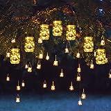 Solpex 30 LEDs Hanging Solar Lights Outdoors, 6 Pack Solar Mason Jar Lid Fairy String Lights for Christmas, Patio, Garden, Ya