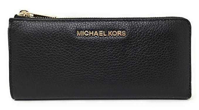 be87fde492ce99 Michael Kors Jet Set Large Three Quarter Zip Around Pebbled Leather Wallet  (Black)