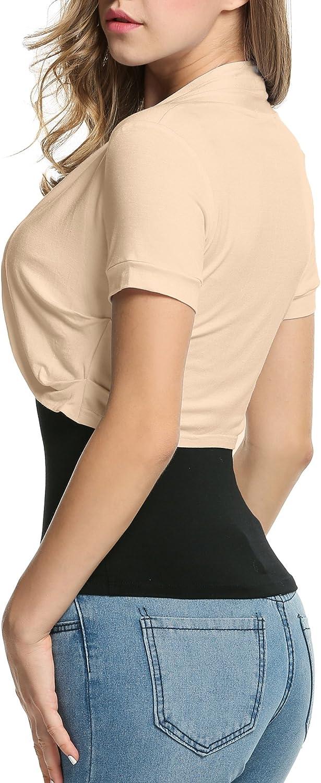 Beyove Damen Kurz Bolero Strickjacke Cardigan Schulterj/äckchen Kurzarm Plissierten Seiten Boleroshrug Weiches Material
