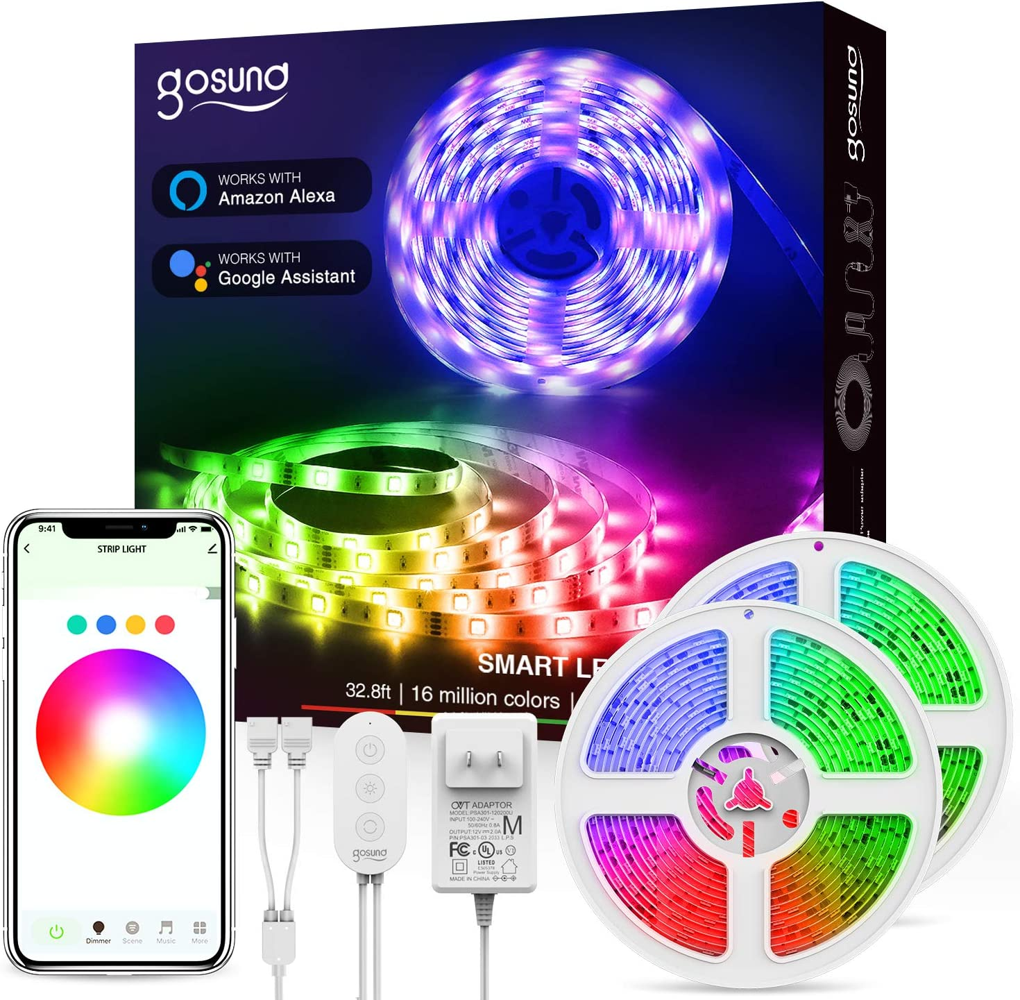 Led Strip Lights, Gosund Smart Wifi Led Lights 32.8ft Works with Alexa and Google Home, App Control, 16 Million Colors, Music Sync, Rgb Color Changing Led Strips for Bedroom, Home, Tv, Kitchen, Party