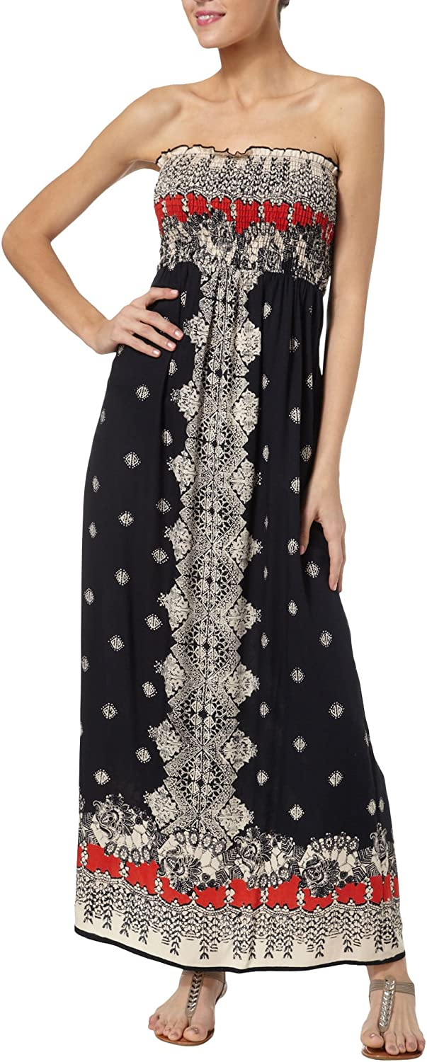 Angie Womens Printed Smocked Bodice Strapless Maxi Dress